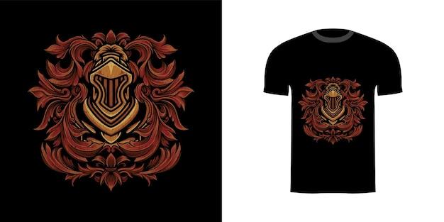 티셔츠 디자인을 위한 조각 장식이 있는 그림 기사