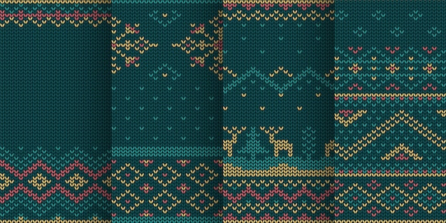 Illustration of knitted christmas theme seamless pattern set