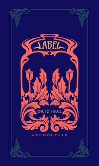Illustration label carving art nouveau