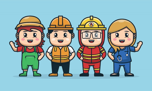 Illustration of labor character design in group