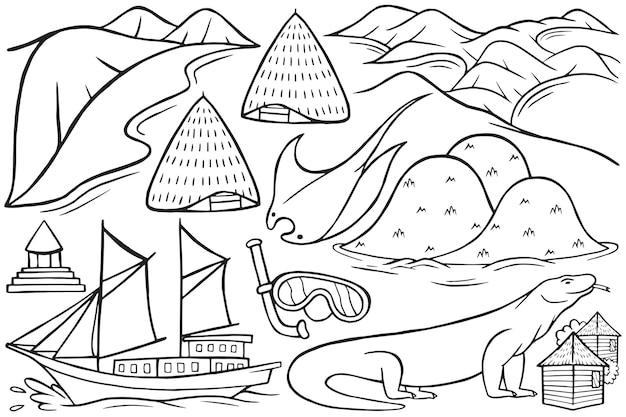 Illustration of labuan bajo doodle in cartoon style