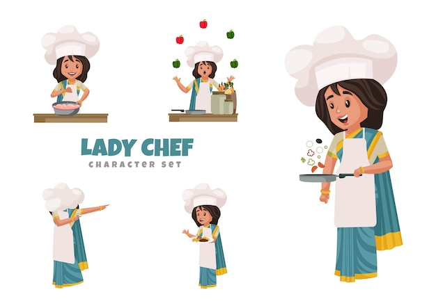 Illustration of lady chef character set