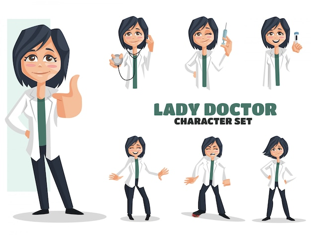 Illustration of lady doctor character set
