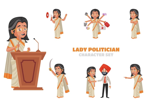 Illustration of lady politician character set
