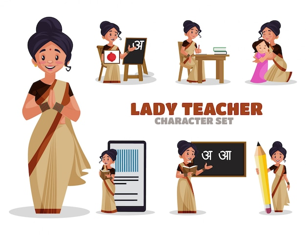 Illustration of lady teacher character set