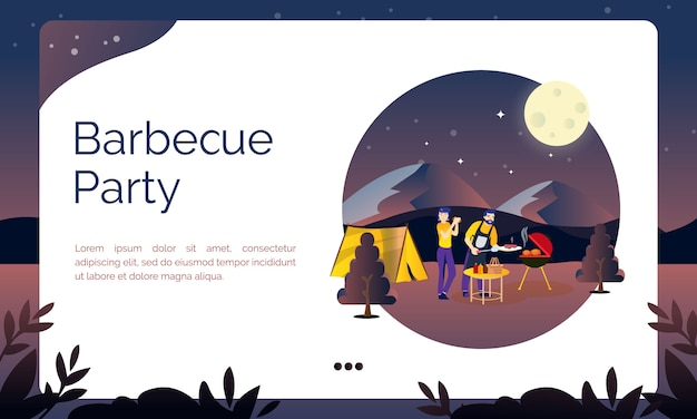 Illustration for landing page, barbecue party at summer camp