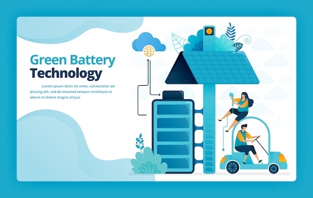 Illustration of landing page of battery charging stations for mobile and electric cars with solar panel technology