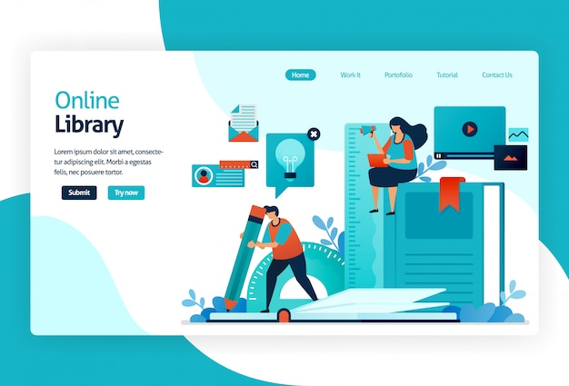 Illustration of landing page for digital library