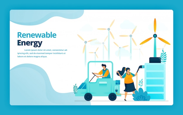 Illustration of landing page of electric car battery charging stations with green energy from wind power plants