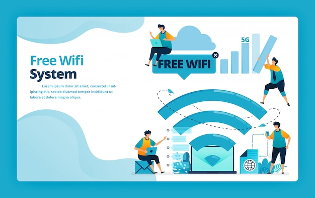 Illustration of landing page of free wifi system for a cheaper and more efficient internet connection