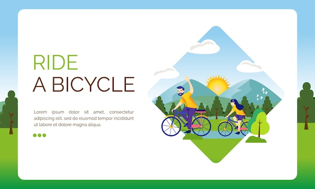 Illustration for landing page, let's ride a bicycle