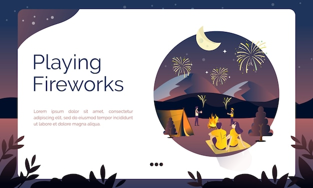 Illustration for landing page, playing fireworks
