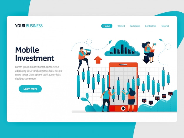 Illustration for landing page of research and analysis statistical data to choose investment. mobile platform for finance and funding. chart and diagram