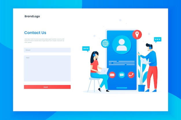 Illustration landing page template of contact us