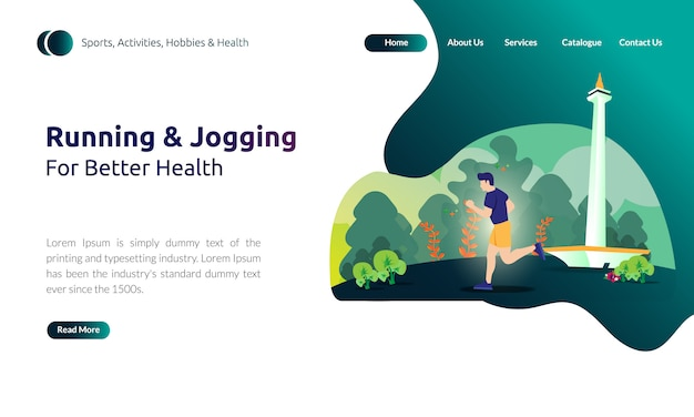 Illustration for landing page template - man running or jogging for better health