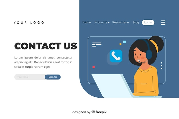 Illustration for landing page with contact us concept