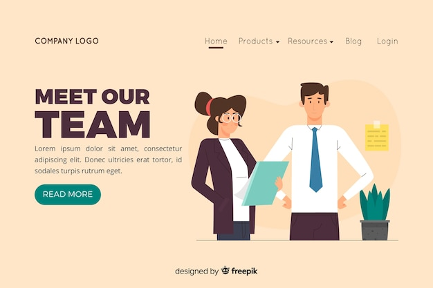 Illustration for landing page with meet our team concept