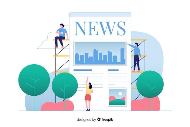 Illustrazione per landing page con il concetto di notizie