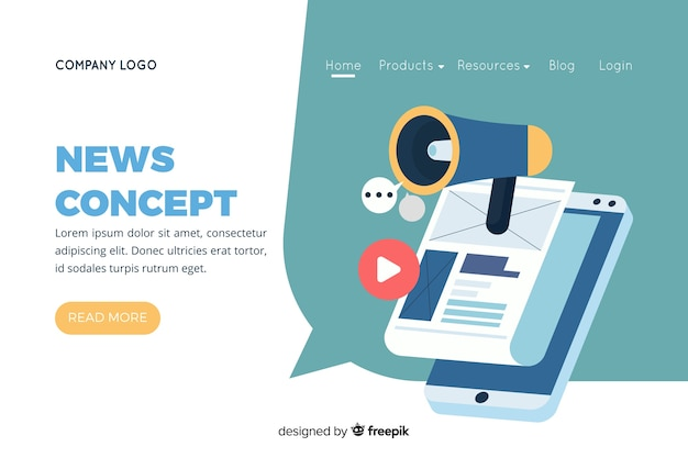 Illustration for landing page with news concept