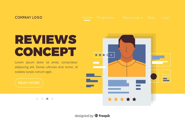 Illustration for landing page with reviews concept