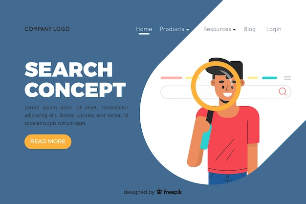 Illustration for landing page with search concept