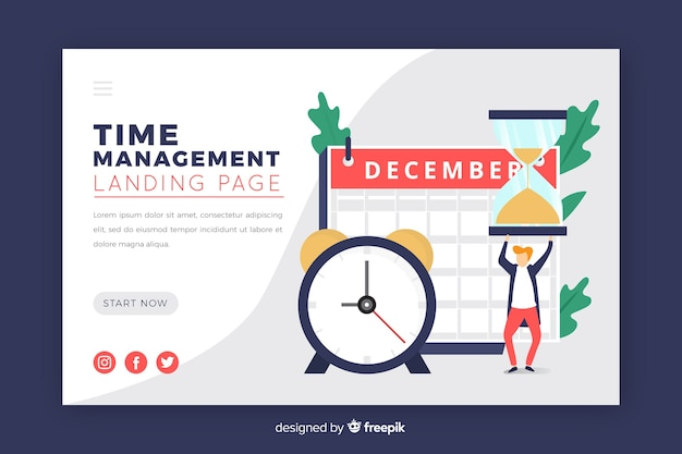 Illustration for landing page with time management concept