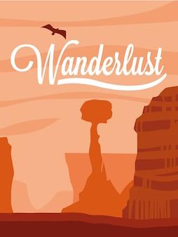 Illustration landscape desert wanderlust