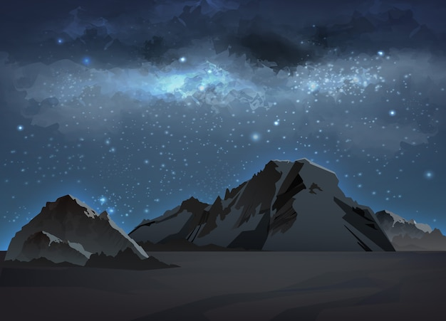 Illustration of landscape with blue milky way in mountains at night sky with stars. space background with galaxy and high rocks, peaks and ridges