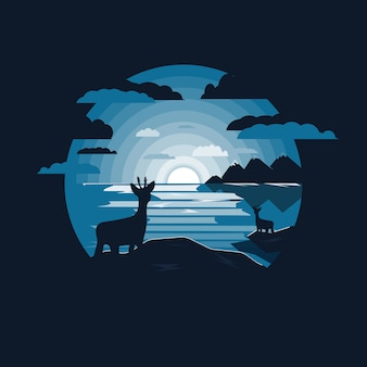 Illustration of landscape with deer and lake with moonlight