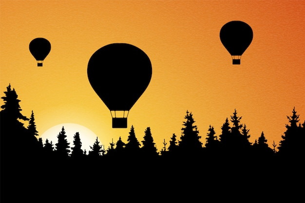 Illustration of landscape with forest, flying hot air balloons and orange sky with rising sun