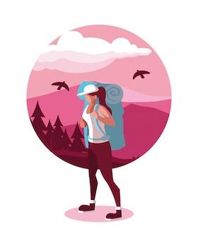 Illustration landscape with mountains and traveler wanderlust