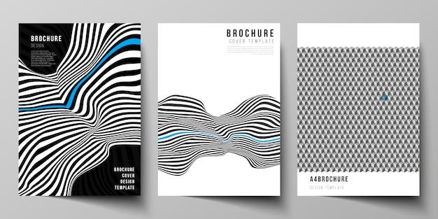 Иллюстративный макет формата а4 современные шаблоны оформления обложки для брошюры, журнала, флаера, буклета, отчета. абстрактные большие данные визуализации концепции фоны с линиями и кубами.