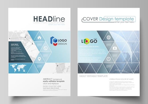 Illustration the layout of two a4 format covers with triangles templates for brochure, flyer, booklet. world globe on blue. global network connections, lines and dots.