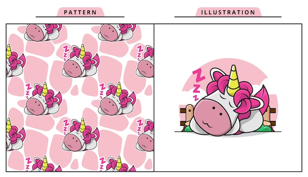 Illustration of lazy unicorn is fast asleep with decorative seamless pattern