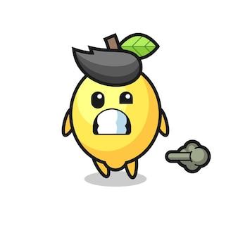 The illustration of the lemon cartoon doing fart , cute style design for t shirt, sticker, logo element