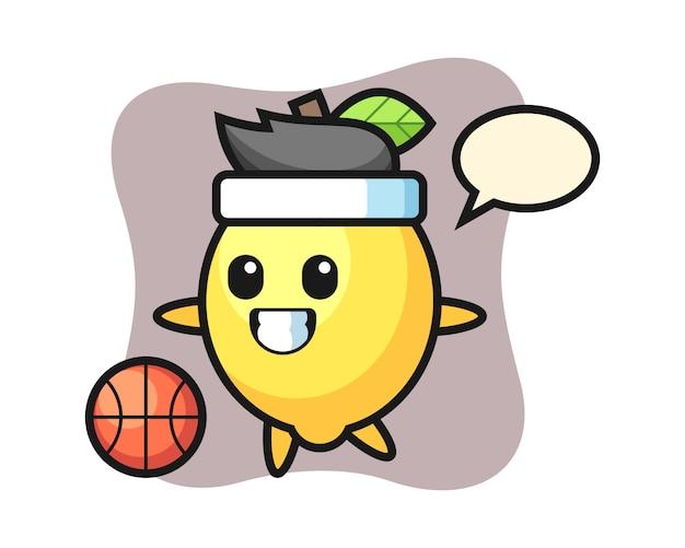 Illustration of lemon cartoon is playing basketball