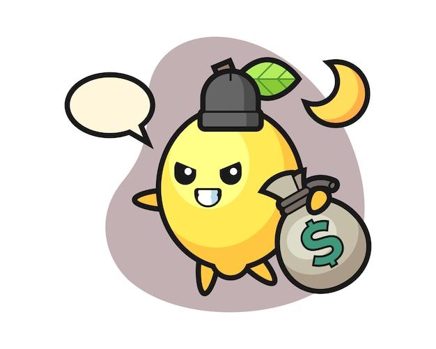 Illustration of lemon cartoon is stolen the money