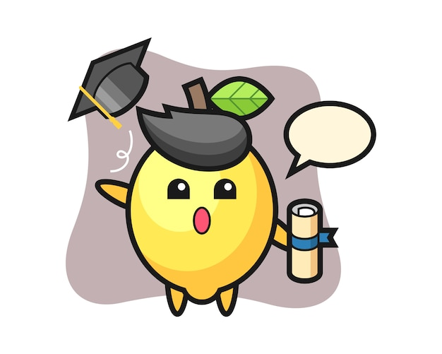 Illustration of lemon cartoon throwing the hat at graduation