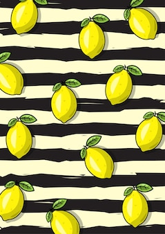An illustration of lemon fruit pattern with black stripe background