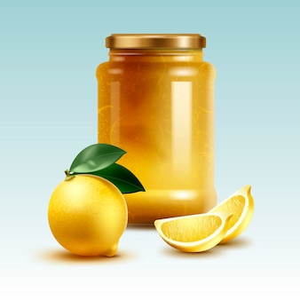 Illustration of lemon homemade jam in big jar with whole and cut citrus fruit