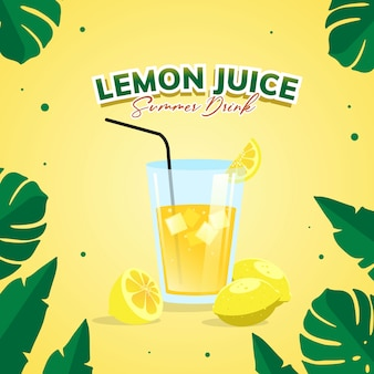 Illustration of lemon juice summer party