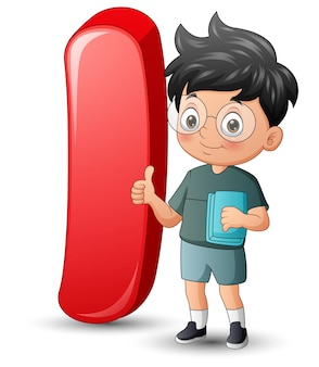 Illustration of letter i with a school boy showing thumb up