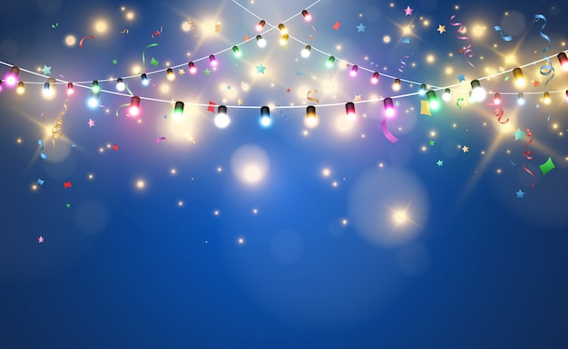 Illustration of a light garland on a transparent background.