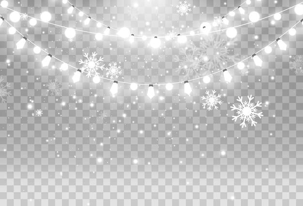 Illustration of a light garland on transparent