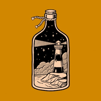 Illustration of light house in the bottle