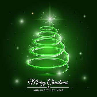 Illustration of light trail christmas tree
