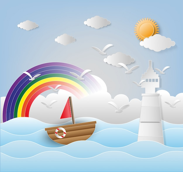 Illustration of lighthouse with seascape. paper art and digital craft style.