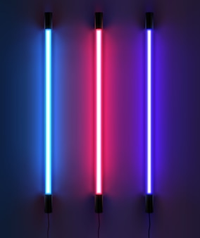 Illustration of lighting neon tubes in different colors.  on dark background
