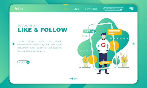 Illustration of like and follow on social media with landing page template