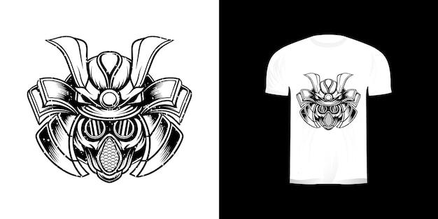 Illustration line art samurai gas mask with grunge texture